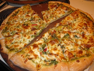 A Peek at Green Chile Chicken pizza