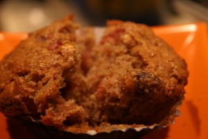 Crancberry muffin with leftover cranberry sauce