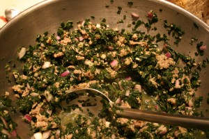 spinach and sausage mixture for manicotti