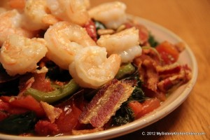 Kale with Garlic, Shrimp, and pine nuts and a wee bit of bacon