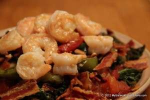Kale with Garlic, Shrimp, and pine nuts
